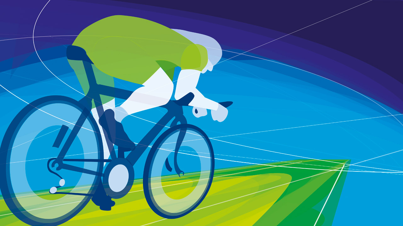 Ulster Sports Centre Illustrations - Cyclist