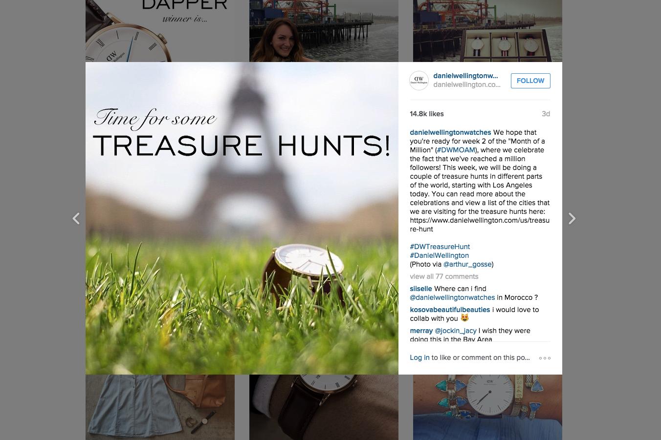 Daniel Wellington Instagram Treasure Hunt