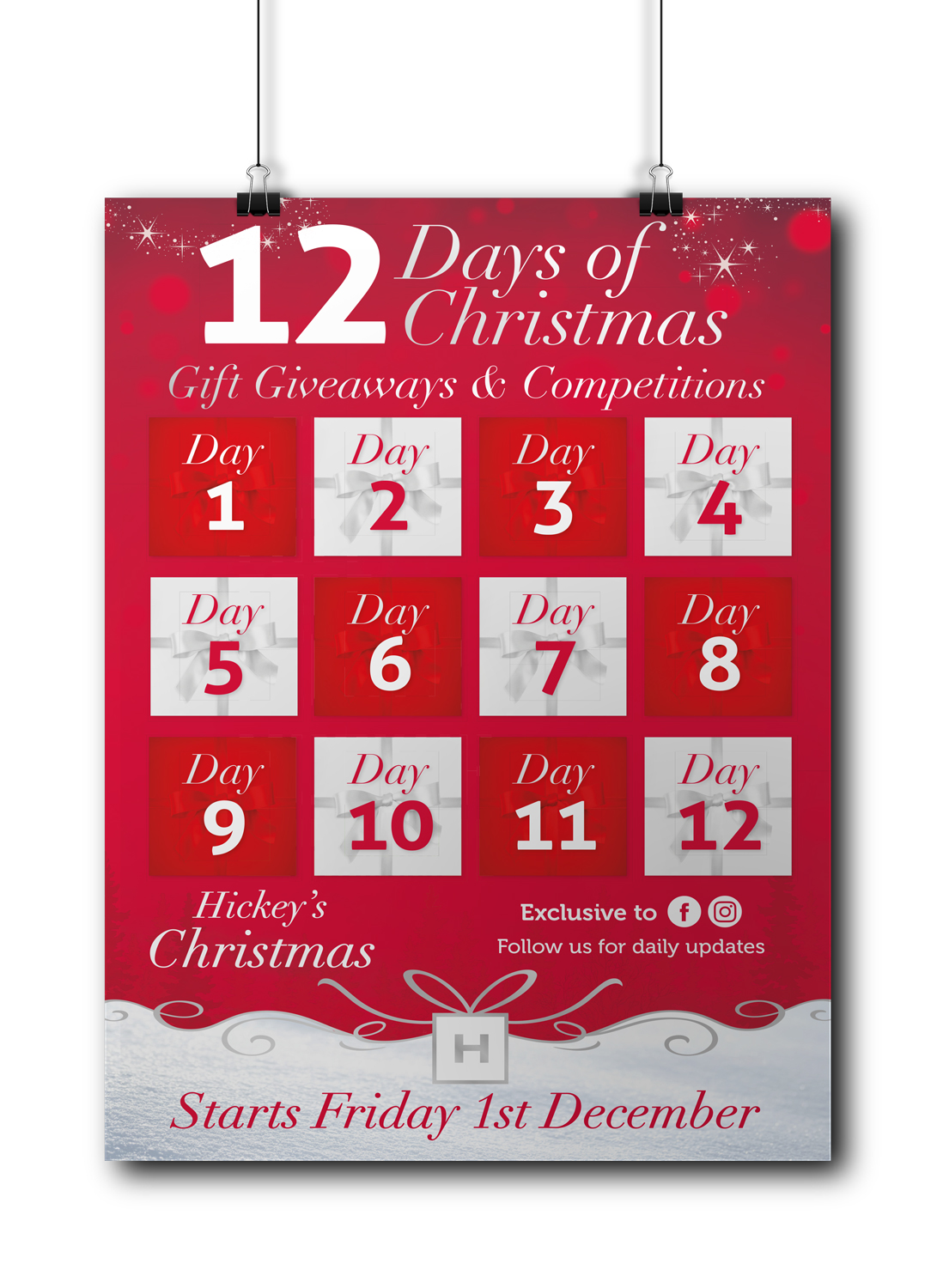 hickeys pharmacy 12 days of christmas a4 poster - 10 Days Of Christmas